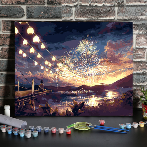 Imagen 1 de 9 de Diy Pintura Al Óleo Pintura Por Números Dibujo Ambiental