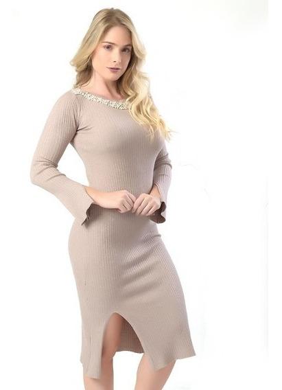 Vestido Com Gola De Pérolas