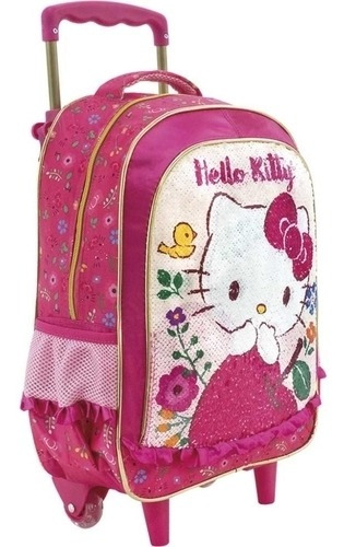 Mochila Infantil Rodinha Hello Kitty Média Original Xeryus
