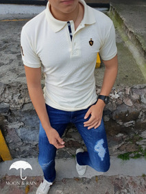 Polo Slim Fit Crema Escudo Lion 1# Moon & Rain