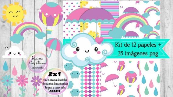 Clipart Y Papeles Lluvia De Amor Mod.1 Kit Imprimible