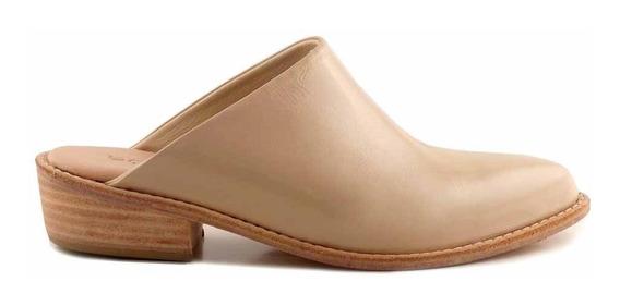 Zueco Zapato Mujer Cuero Briganti Taco Bajo - Mcsu48029 Ch