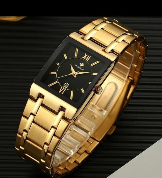 Relógio Masculino Importado Wwoor Dourado