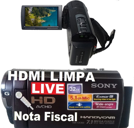 Filmadora Sony Hdr-cx360ve Entrada Microfone Hdmi Limpa Live