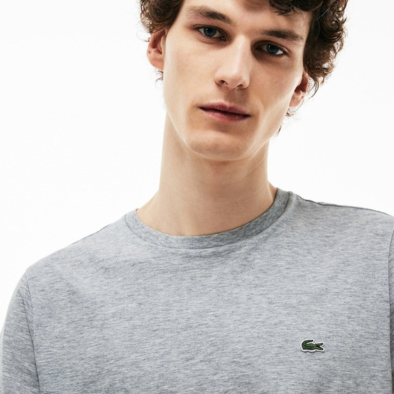 Camiseta Lacoste Masculina Original Cinza