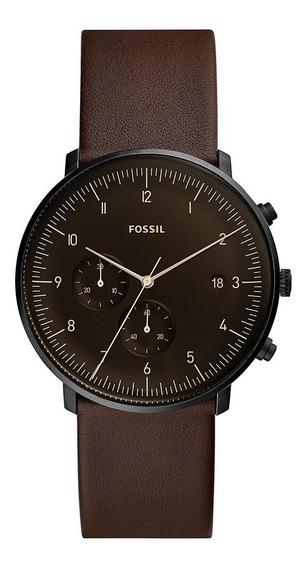 Relógio Masculino Fossil Chase Fs5485/0pn 42mm Couro Marrom