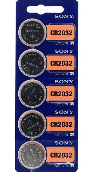 1 Cartela Com 5 Bateria Sony 2032 3v Original Cr2032
