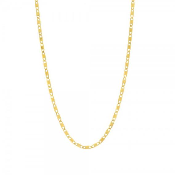Corrente De Ouro 18k Malha Piastrine 60cm