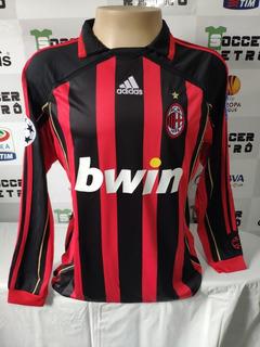 Camisa Milan 2006-07 Kaka 22 Manga Longa Champions League