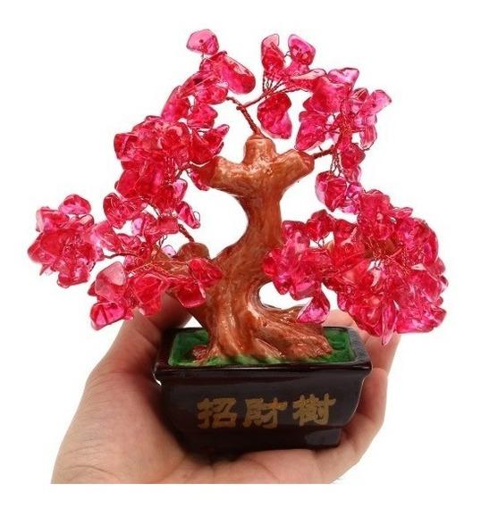 Bonsai Artificial Em Pedra Cristal Vermelho Decoração Sala