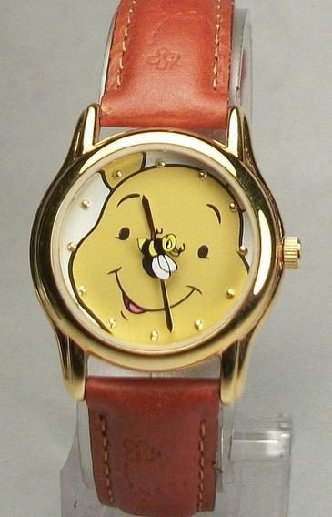Relogio Disney Ursinho Pooh Vintage De Ouro E Couro