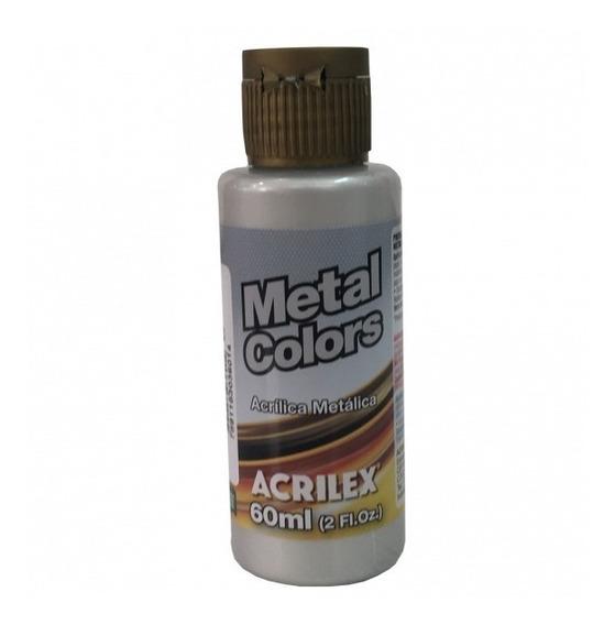 Tinta Acrílica Prata Metálico Acrilex P/ Artesanato (60ml)
