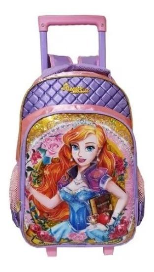 Mochila Escolar Infantil Feminina Princesas 3d Rodinhas