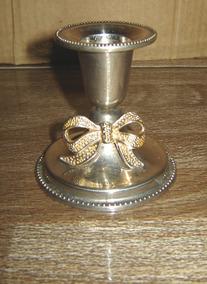 Castiçal De Bronze Decorado Peça Antiga