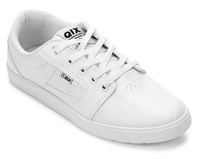 Tênis Qix Lg Branco Preto Original Couro Sintético Skate