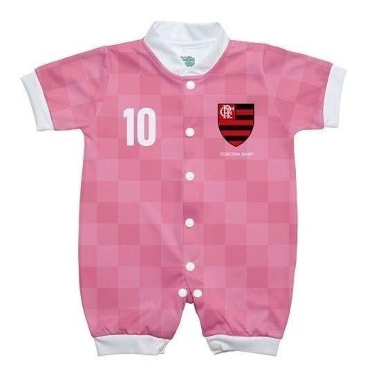Macacão Bebê Flamengo Rosa Manga Curta Oficial Torcida Baby
