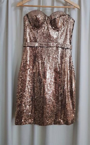 Vestido Strapless Rosh Dorado Espectacular