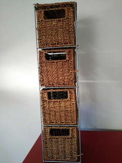 Organizador Modulo De 4 Cajones De Yute Trenzado.color Beige