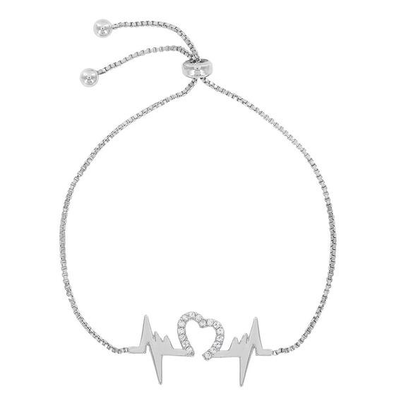 Morana | Pulseira Prateada Coração Ródio Branco