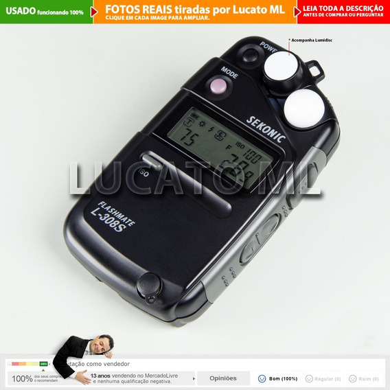 Fotômetro Flashmate Sekonic L308s + Lumidisc +alça +pilha 2a