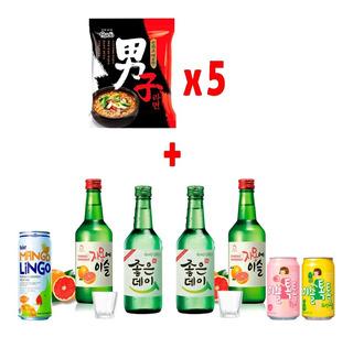 Combo 5 Ramen Premium + Soju + Vasitos Y Más!