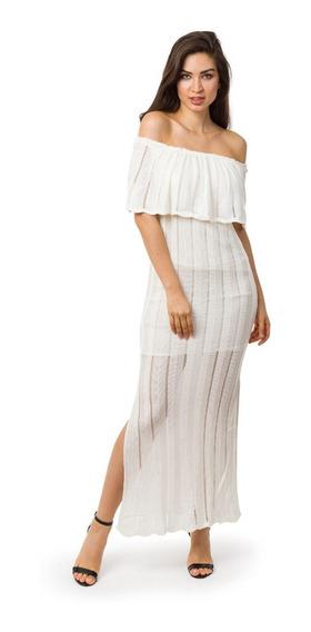 Vestido Longo De Tricot Tricô Com Fenda Ombro A Ombro Feminino Com Fenda Nas Laterais 05129