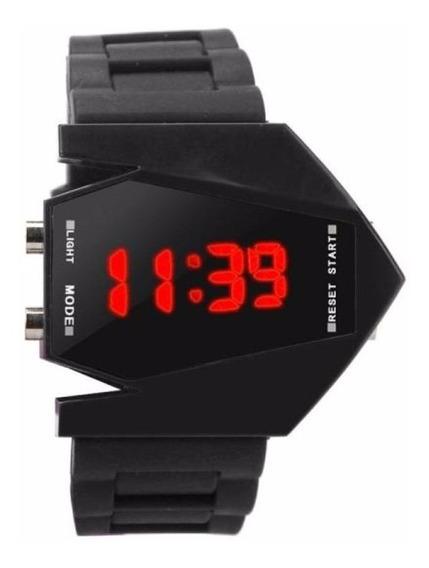 Relógio De Pulso Silicone Com Leds - Mod. Avião Com Caixa