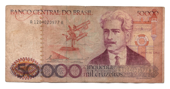 Cédula Cinquenta Mil Cruzeiros Oswaldo Cruz A1204 N172 Mbc