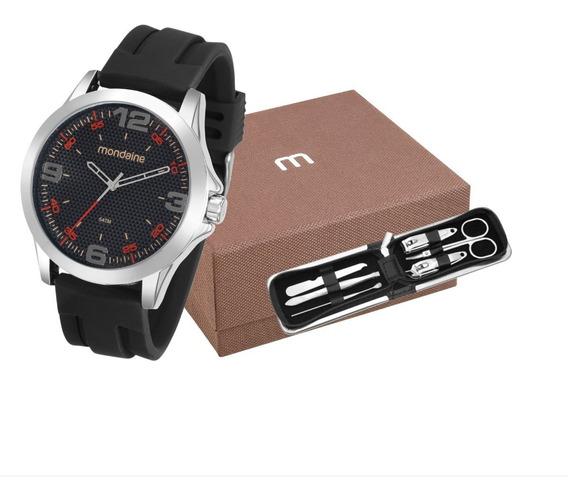 Relógio Mondaine Masculino Pulseira Borracha + Kit Manicure