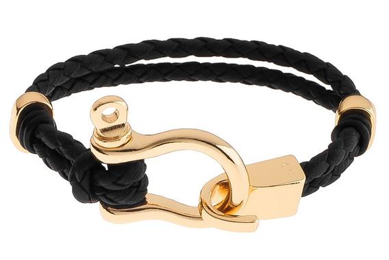 Pulsera Hoarse / Hombre / 4 Baños De Oro 18k / Cuerda Negra