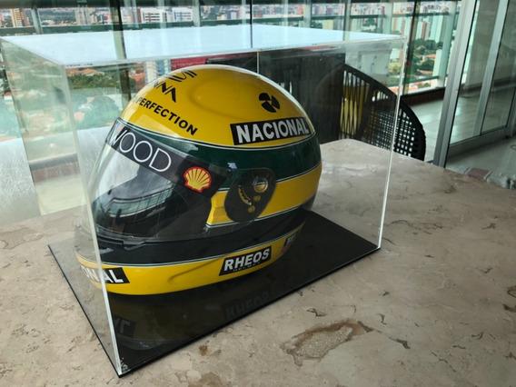 Capacete Do Senna Comemorativo Com Case Em Acrilico