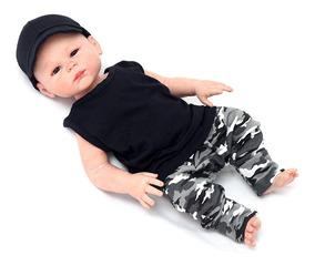 Roupas De Bebê - Conjunto Militar Com Boné