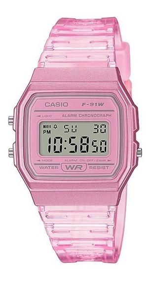 Relógio Casio Feminino Vintage F-91 Transparente Cores