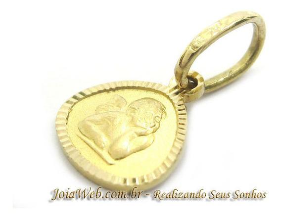 Joianete E9015-10337 Pingente De Ouro Medalha Anjinho