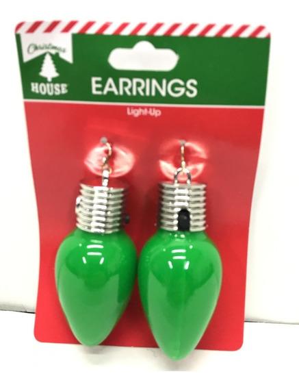 Aretes Luces Navideñas Focos Led De Navidad En Arete Verdes