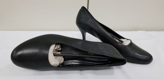 Sapato Feminino Preto Social Salto Medio Marinha