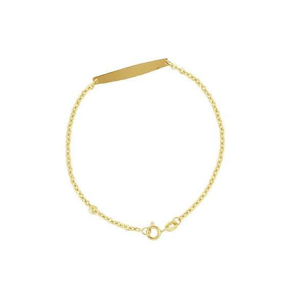 Pulseira Infantil Plaquinha Ouro 18k - Cod 12853
