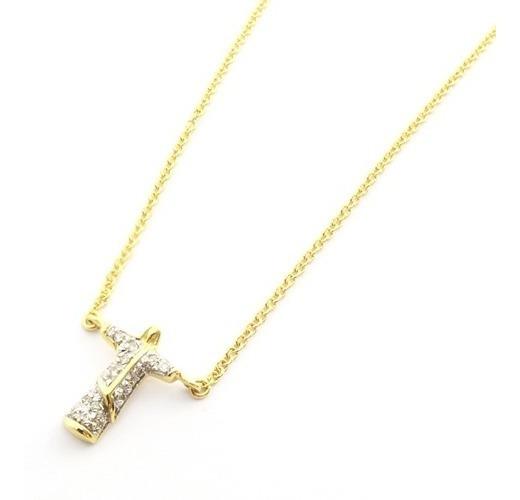 Gargantilha Ouro 18k Cristo Redentor Com 14 Diamantes