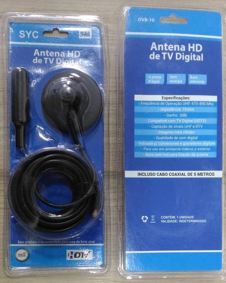 Antena Digital Hd 3dbi Interna Externa Com Imã 5m Tomate 10u