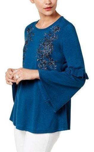 Suéter Bordado Azul Petroleo Marca Alfani Talla Xl