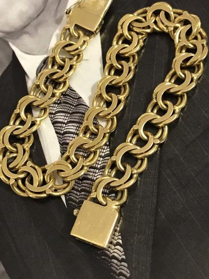 Pulseira Em Masculina Em Ouro 18k-750 Peso: 29.2 Gramas