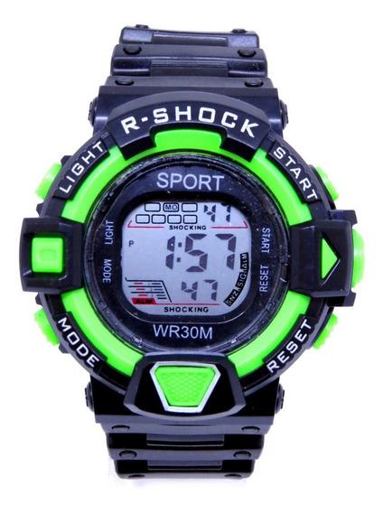Relógio Sport Digital Original Verde Luz Alarme Infantil Top