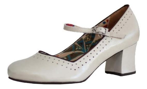 Sapato Salto Confort Vintage Retrô Boneca Em Couro 7839