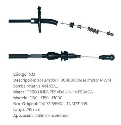 Imagen 1 de 4 de Cable De Acelerador Ford F1000 1993 745mm