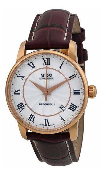 Reloj Mido Baroncelli Automático Piel Café Dorado M86002218