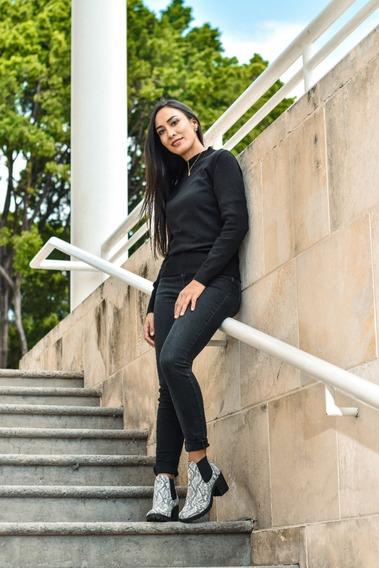 Suéter De Licra Cuello Redondo Bajo Mujer Tejido De Punto