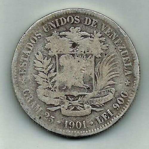 Moneda De Plata. Fuerte 5 Bs Bolívares. Año 1901