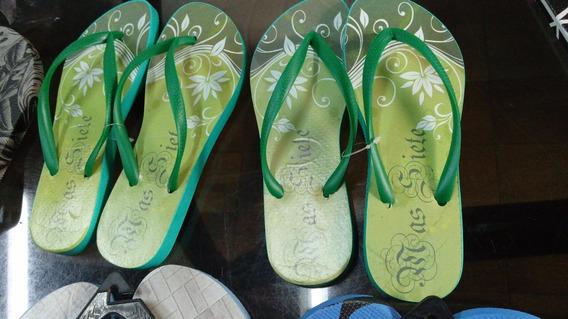 Ojota Slim Mujer +7 Massiete Orig 35/6 2d Verde Y Flores