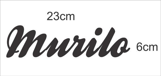 Adesivo Nome ( Murilo ) 23cm X 6cm Preto Plotter Recorte