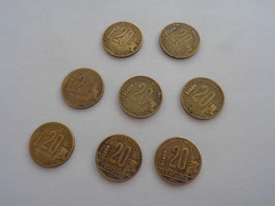 Argentina Moneda 20 Centavos 1945 1946 1948 1949 1950 X 8